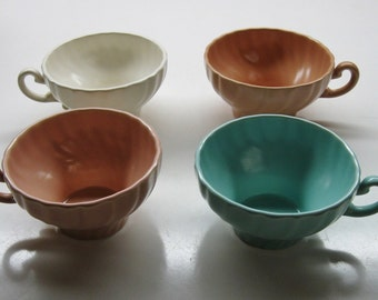 FRANCISCAN CORONADO CUPS Lot of 4 White Coral Aqua Coffee Tea Made in usa