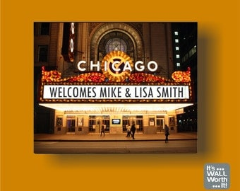 """Personalized Chicago Theatre Marquee Sign on Canvas 8""""x10"""" - Chicago Theatre"""