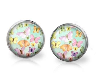 Butterfly Dreams Stud Back Glass Earrings