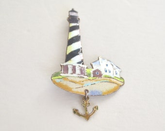 Vintage Sterling Silver Enamel Lighthouse Anchor Beach Brooch Pin