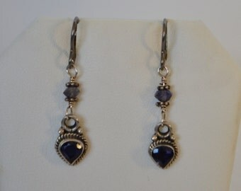 Vintage Sterling Silver Marcasite Sapphire Gemstone Dangling Hook Earrings