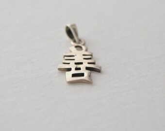 Vintage Sterling Silver 925 Signed Chinese Character Chou Long Life Longevity Pendant