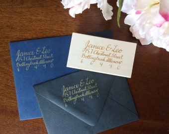 Custom Calligraphy Return Address Stamp (matching Madeline script)