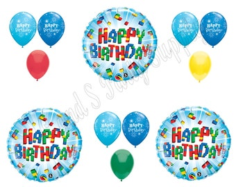 LEGO inspired Building Blocks Happy Birthday Balloons Decoration Supplies Party