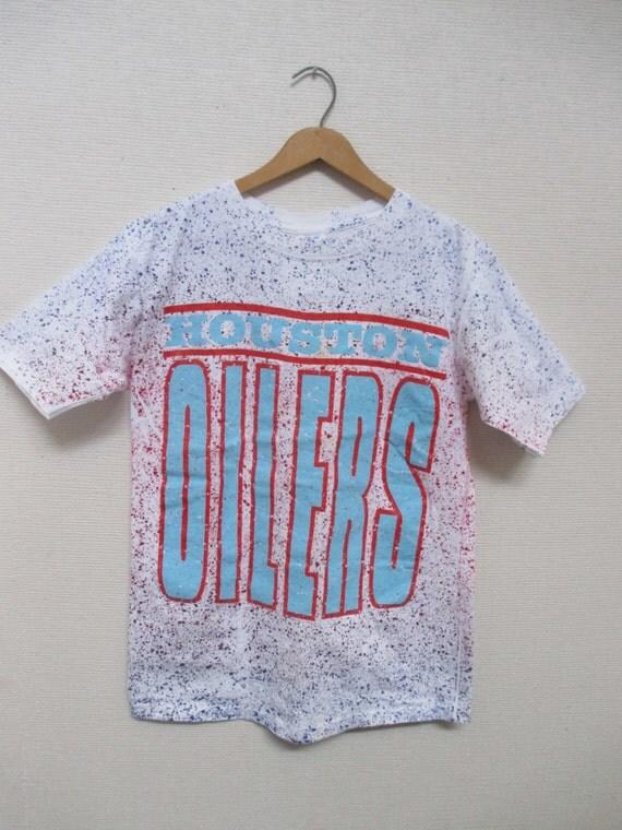 Vtg Oilers Houston Texas 80s 90s Gradient Spray Paint Graphic