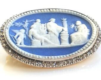 18th Century Wedgewood Neo Classical Jasper Dipped Brooch Rose Cut Diamond Gold