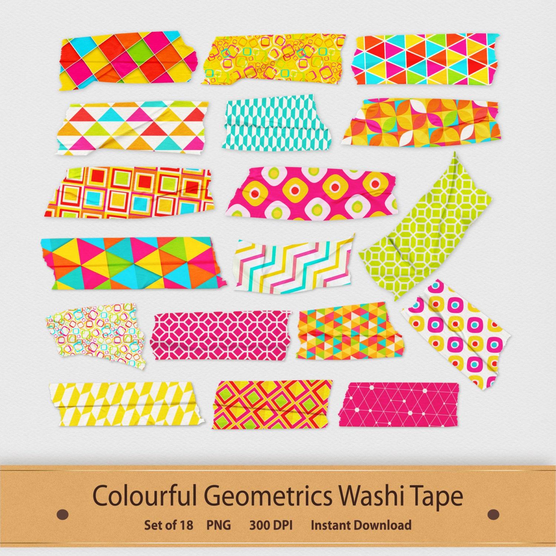 Colourful geometric washi tape pattern printable clipart set for Geometric washi tape designs