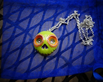Polymer clay Day of the Dead necklace