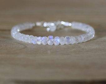 Rainbow Moonstone Beaded Bracelet in Sterling Silver, Rose or Gold Filled. Chunky Stacking Bracelet. Flashy Blue AAAA Gemstone Jewelry.