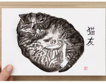 "Oversized postcard (8.52"" x 5.47"") with my cat art"
