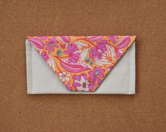 Small Envelope Clutch Purse - Pink Orange Floral Print