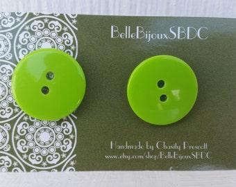 Lime Green Button Earrings - Stud Earrings