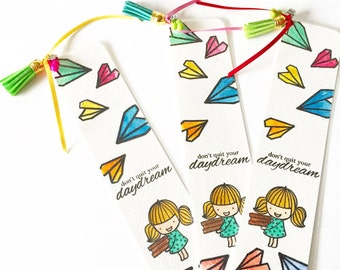 Bookmark with Encouragement Friendship Gift Doodle Watercolor Handpainted