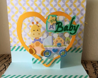 New baby card, yellow, green, gender nuetral baby card, pop-up, 3-D, handmade baby card