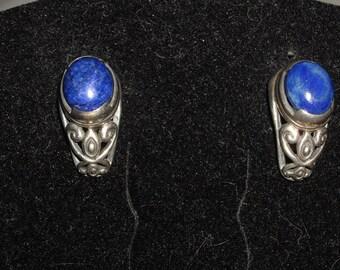 Vintage Sterling Silver 925 Blue Lapis Post Earrings