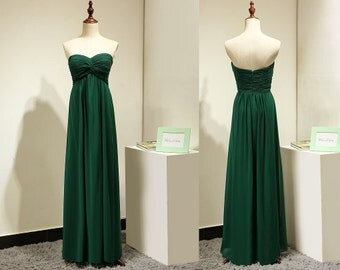 Emerald Green Bridesmaid Dress Long Empire Chiffon Maternity Evening Dress Party Gown Sweetheart Fitted Prom Dress