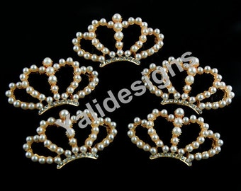 Set of 5pcs 40mm Metal Spark Rhinestone &Pearl Brooch-Pearl Crown Style-Wedding and Childeren Headbands or Hair Clips-YTB49