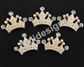 Set of 5pcs 30mm Metal Spark Rhinestone &Pearl Brooch-Pearl Crown Style-Wedding and Childeren Headbands or Hair Clips-YTB70