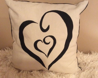 Valentine's Hand Painted Pillow-Heart/Birds Two Sides Canvas Accent Pillow