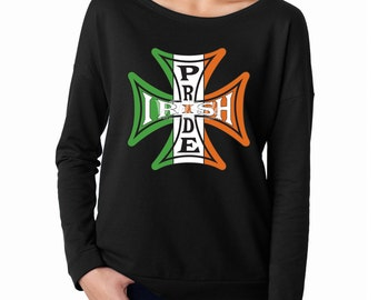 Womens Tshirts-Terry Long Sleeves Scoopneck-Irish Pride-Ireland Flag Tshirt-Iron Cross-Leprechaun Shirt-Irish DayTshirt-Proud To Be An Irish
