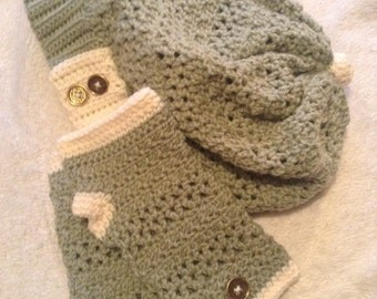 Handmade crochet slouchy style hat / fingerless gloves set/ All sizes/ All colors
