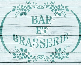 Re-usable Mylar Stencil BRASSERIE,  Furniture, Fabric, French, Vintage, Shabby Chic