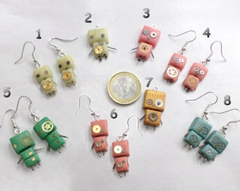Earrings and necklace small robots (with gears true!)