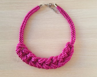 Fuchsia rope necklace, Pink braided necklace, Nautical rope necklace, Knot Necklace, Chunky Necklace, Navy Necklace