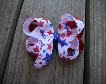 4th of July Stacked Boutique Bow; Red White and Blue Star Patriotic Clip
