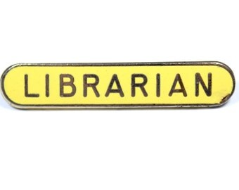 Vintage librarian pin, librarian badge, yellow enamel librarian brooch, library gift, book lover, yellow pin, librarian gift, school badge