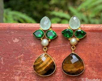 PinkBasket Chalcedony, Tiger Eye, Prehnite and Shell Pearl Gold-Plated Metal Earrings