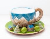 Set of ceramic mug with saucer. Handmade Ceramic Mug mountains Handmade Pottery Mug Pottery Tea Cup Pottery Coffee Cup ceramic miniatures