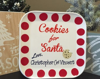 Personalized Santa plate - Christmas cookie plate