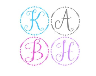 Whimsical One Letter Circle Monogram Decal Sticker
