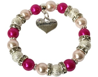 Girls Elegant Granddaughter Bracelet with rhinestones