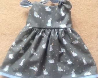 Grey/Blue bunny summer dress - age 0-3 months