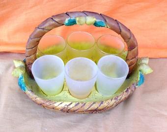 bicchieri vintage per bere i liquori,  vasoio in resina e 6 mignon bicchierini limoncello, shot glasses for liquor, stained glass limoncello