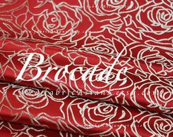 Red Rose Brocade Golden Roses