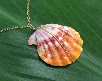 Large orange sunrise shell necklace