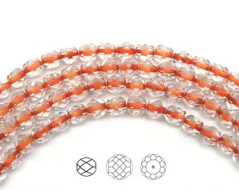 Crystal Orange Lined, Czech Fire Polished Round Faceted Glass Beads, 6mm, 68 beads on 16 inch strand, Czech Glass Fire Polish Beads