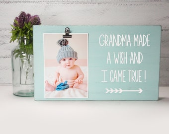 Wood Block Baby Photo Holder- Grandma Made A Wish- Wood Block Nursery Decor-Baby Gift-Shower Gift-Birthday Gift-Country Decor