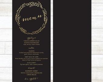 black gold wedding menu, gold glitter wedding menu, gold wreath wedding menu, wedding menu printable, custom wedding menu