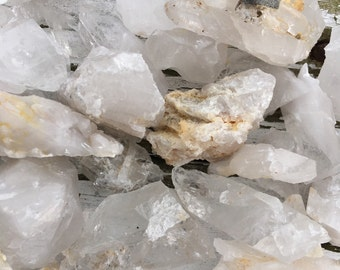 Raw and Natural Clear and Milky Arkansas Quartz Chunks, Arkansas Quartz, Natural Quartz Chunks and Pieces