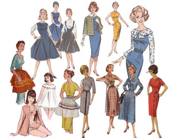 Vintage 1960's Illustrated Pattern Girls Clip Art 3 Files with White Background High Resolution