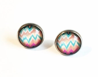 HYPOALLERGENIC Glass Cab Earrings 12mm LARGE (Surgical Stainless Steel) - Chevron