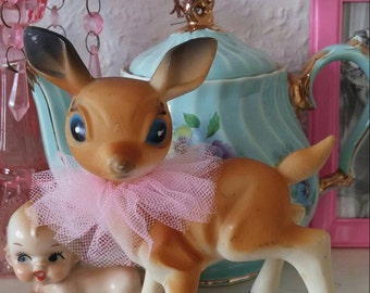 Vintage kitsch old plastic deer ornament babycham 1960s with pink tulle collar