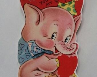 Vintage kitsch Valentine's card sticker with pink elephant x2