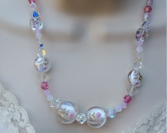 Pink Lampworked Glass Necklace/Pink Roses/Swarovski Crystal/Silver/Pink/Flower/Floral/Feminine/OOAK/earrings/Jewelry Sets/Valentine's Day