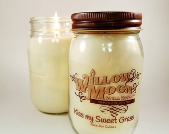 Kiss my sweet grass- sweet grass scented soy candle, scented candle, herbal scents,calming candle, fresh candle