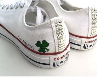 Custom Wedding Converse, with Rhinestones, for the Bride, Hand painted wedding shoes, Bridal party, Mother of the Bride, Bridesmaids Gifts